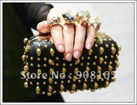 Wholesale High quality NEW SEXY rivet PUNK SKULL KNUCKLE RING bag Evening Shoulder CLUTCH bag free shipp