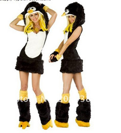 Wholesale fur sexy penguin cosplay animal costumes for women halloween DD211