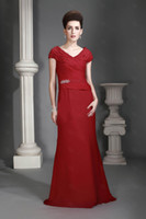 Reference Images V-Neck Chiffon A-line Red V-neck Short Sleeve Ruched Bodice with Sash Floor-length Chiffon Bridesmaid Dresses
