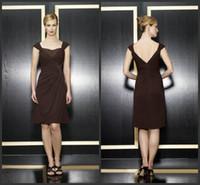 Wholesale Knee Length Coffee Chiffon Sexy Mother Dresses Custom Standard Plus Size Applique Column Party Dress