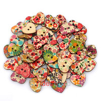Wholesale 400pcs Mixed Heart Shaped Hole Wooden Sewing Buttons Scrapbooking x22mm