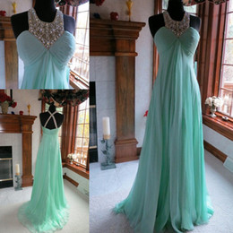 2015 Hot Evening Dresses New Fabulous Crystal Beaded Halter Empire Waist Chiffon A line Prom Gown Party Dress Custom made