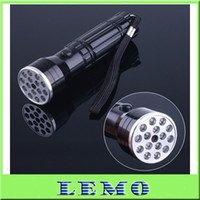 Cheap 5pcs Lot Mini Black 15 LED UV Laser Ultraviolet Flashlight light Lamp Torch