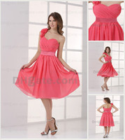 Wholesale 2012 Sexy Coral Bridesmaid Dress One Shoulder Ruffle Chiffon Flower Knee Length Dress DH003687