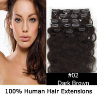 Wholesale Top Quality quot Remy Clip In On Body Wavy Human Hair Extensions dark brown