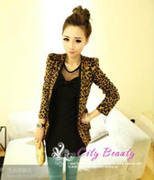 Wholesale shoulder pads suede fabric leopard print blazer slim suit outerwear