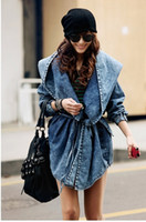 Wholesale Korean fashion women rocket Denim Trench Coat jean Hoodie coats free size
