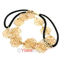 Wholesale 3pcs Gold Tone Hollowed Rose Flower Elastic Hairband Headwrap Head Band