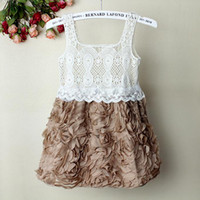 Wholesale 2012 New Kids Girl Dress Coffee Rose Infant Lace Party Dress for Girl Princess Dresses