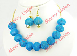 Wholesale pc Basketball Wives Mesh Beads Inspired Necklace Earrings Jewelry Set Mix Colors