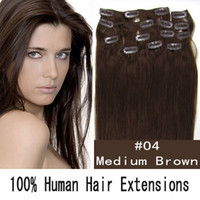 Wholesale Top Quality quot Remy Clip In On Human Hair Extensions Straight medium brown
