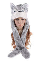 Wholesale 2012 Christmas gift cartoon animals wolf hat hats gloves scarves three piece suit