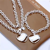 Wholesale bracelet necklace ring earrings mix silver jewelry fashion jewelry Half Solid Heart