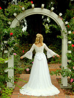 Cheap Wedding Dresses With Long Sleeve Lace Boho Romantic Retro Court Pricess Wedding Dresses Elegant