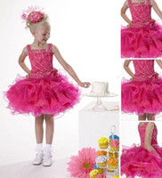 Wholesale 2012 New Babyonline Fuschia Pink Organza Beading Girl s Pageant Gowns Junior Bridemaid Dresses