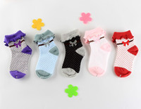 Wholesale Baby socks for girls turnover top design big lace wave point pattern cotton fabric middle thickness