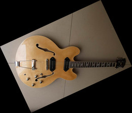 online shopping HOT SALE jazz Hollow natural electric guitar Chinese guitar in stock