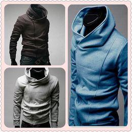 Wholesale Hot Mens Collar Hoodies Slim Fit Oblique Zipper Casual Hoodies Sweatshirts colors Sizes