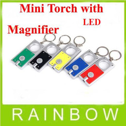 200pcs lot RA Mini Keychain Gift Torch Flash light With Magnifier Bright 1 LED Flashlight Free Shipping