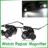 Wholesale 9892A Practical Glasses Type X Watch Repair Binocular Magnifier with LED Light Black