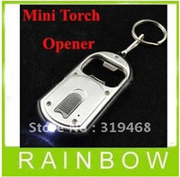 Wholesale 500pcs RA in LED Flashlight Torch Keychain With Beer Bottle Opener Key Ring Chain Keyring