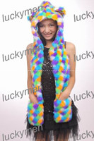 Wholesale new spirit artificial fur animal cover winter cap with long scarves and gloves