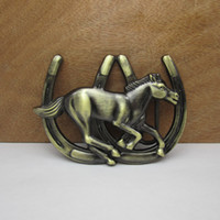 Wholesale Runing horse belt buckle horse buckle with antique brass finish FP MOQ