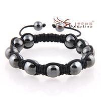 wholesale hematite jewelry - Hematite Bead Bracelet Handmade Jewelry Black String Braided Friendship Bracelet For Christmas Gift