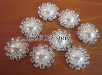 Wholesale 40pcs mm Pearl Simplicity Large Button Bling Pearl Button Alloy Metal Buttons Flat Back