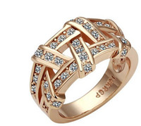 Wholesale Rose Glod Weave K Gold Plated Ring Health Jewelry Nickel Free K Golden Plating Platinum Crystal