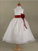Wholesale A line Princess Scoop with Sash and Handmade Flower Ankle length Satin Organza Flower Girl Dress