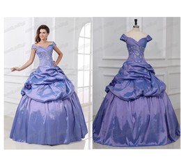 Wholesale Off the Shoulder Purple Princess Ball Gown Quinceanera Wedding Dresses Emboidery Party Formal Gowns