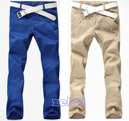 Wholesale Mens Straight Long Slim Cotton Blends Fashion Pants Color Skinny Pencil Trousers