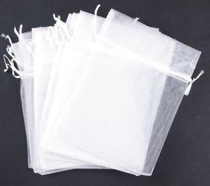 2017 100x Organza Fabric White Small Gift Bags 7*9cm With ...