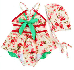 Wholesale Children Swimwear Girls fashion floral piece swimsuit piece suit