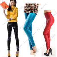Skinny,Slim Capris Women Leggings Women's Honed High Waist Faux Leather Pants Tights Leggings 3 Colors Agood #3828