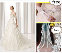 Wholesale 2012 Hot Sexy New Beaded Ruffles Chapel trailing A Line Wedding Dresses With Veil and Glove DH00364