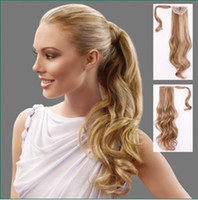 Wholesale P002 Clip in Ponytail Hair Piece Pony Tail Wig Hair Extension Synthetic Blonde Long Curly Wavy quot
