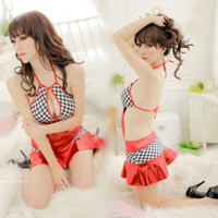 Sheer Chemise Free Size Sexy red backless lingerie Lovely lady checked skirts sexy doll One-pieces skirts lingeries#6604