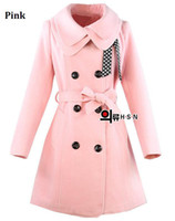 Wholesale Hot Luxury Womens Slim Double Breasted pink Coat Wool Winter Outwear down coats size M L XL XXL