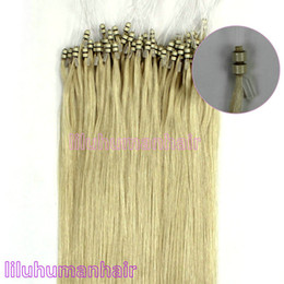 Wholesale Top quality quot Double Silicone Beaded Loop Micro Rings Human Hair Extensions Platinum Blonde g strands