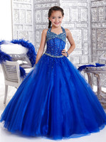 Dazzling Royal Blue Princess Girl's Pageant Dresses Halter T...