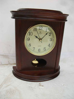 Wholesale high glass decor wooden mantle table clock with pendulum at house and office