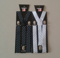 Wholesale women s black and white dot suspenders Mens neon fancy dress Adjustable Y back Elastic Belt