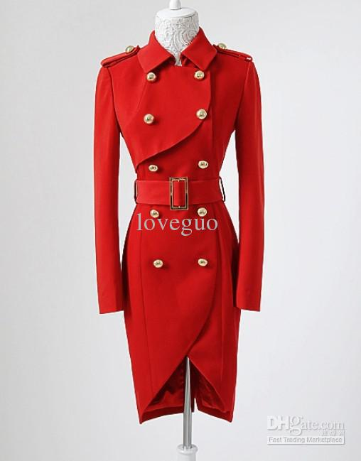 2012 Women Red Long Sleeve Trench Coat Double-breasted Noble New coats