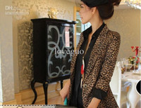 Valentine's Day Middle_Length Cotton Women flodable sleeve suit jacket coat one button leopard tailored collar ja451