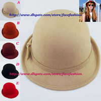 Wholesale Girls wool Bowler hats women felt cap wool cap ladies wool hat Travel cap color mix MZ518