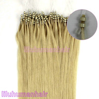 Wholesale 100S pack quot Double Silicone Micro Rings micro beads Human Hair Extensions lightest blonde