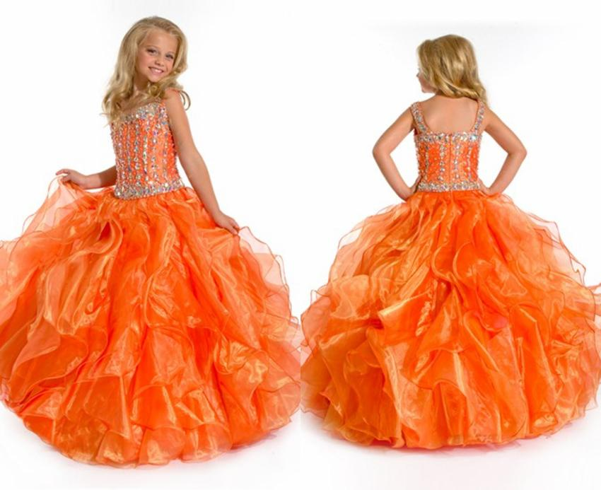 Lovely Cute Orange Beaded Spaghetti Strap Floral Gown Flower Girl ...