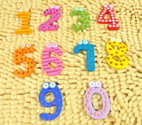Wholesale The baby recognize number the first step safe non toxic baby early digital color wood fridge magnet